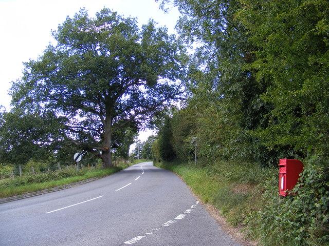 B1079 Grundisburgh Road & Burgh Corner Postbox