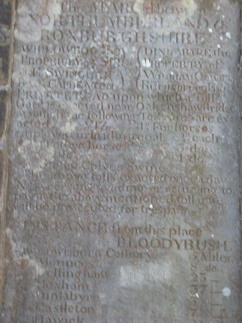 Toll Pillar inscription at Bloody Bush