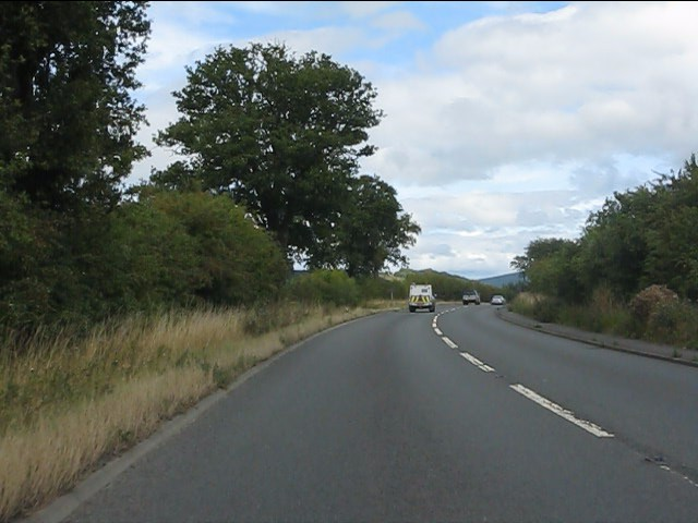 A49 curving east of Bromfield
