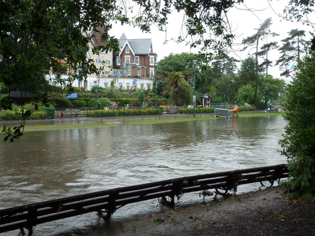 Bournemouth: backs of benches in the flooded Gardens
