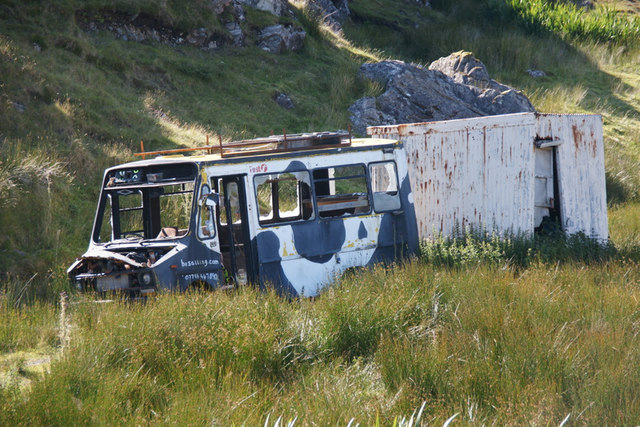 Wrecked bus at Direcleit