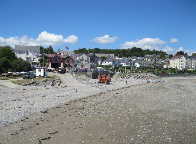Criccieth beach and lifeboat station
