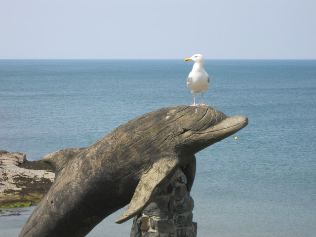 Dolphin statue at Aberporth