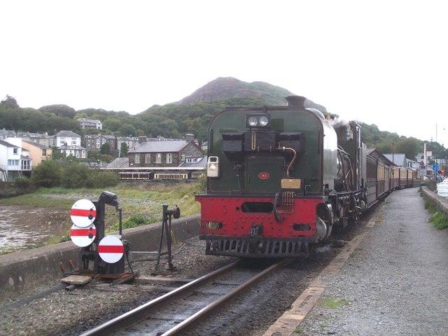 The Welsh Highland train arrives at Porthmadog