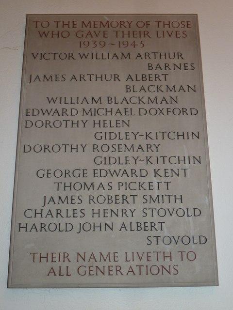 1939-45 war memorial at St Mary Ewshot