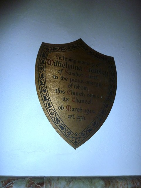 Shield shaped memorial at St Mary Ewshot