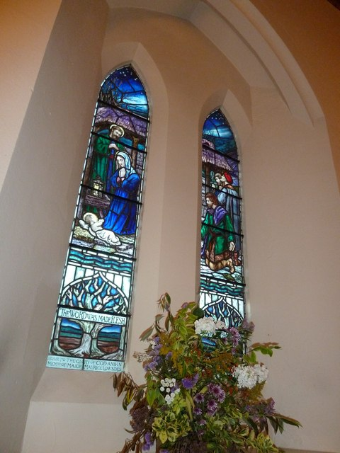 Stained glass windows on the south wall at St Mary Ewshot