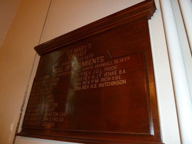Incumbency board at St Mary Ewshot