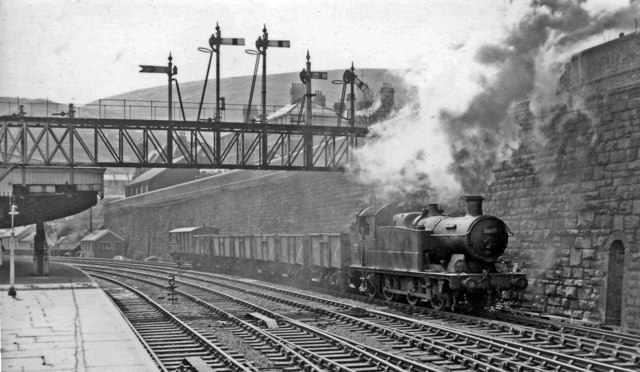 Empties passing Pontypridd Station on way back to the mines