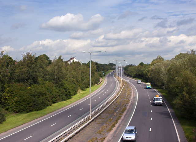 The A557 from the Bridge at Halton