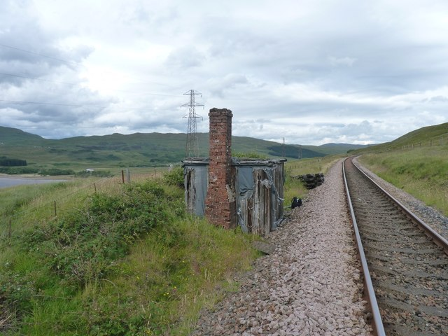 Roofless semi-ruined railway-workers hut on West Highland Line