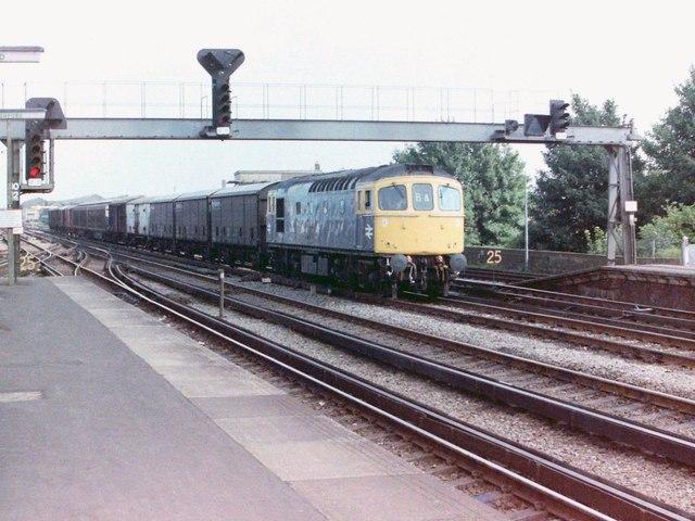 Freight train at Ashford, 1981