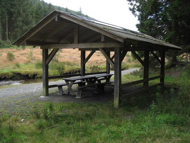 Shelter, beside Afon Hafren