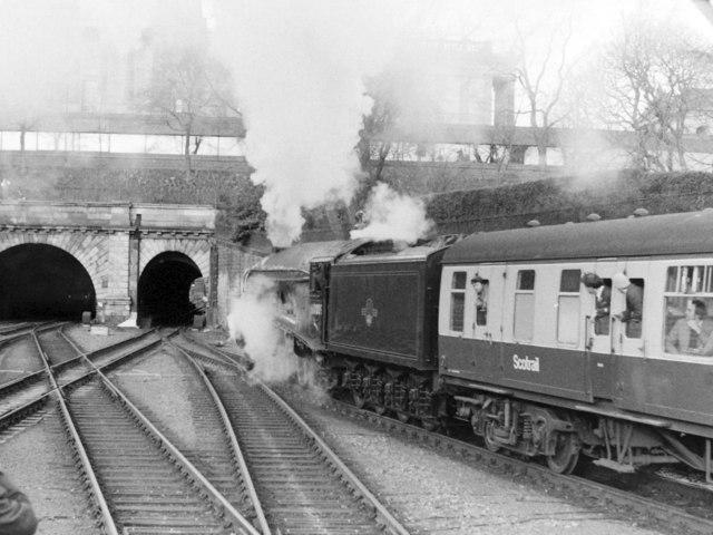 Steam Locomotive at West End of Edinburgh Waverley Station, 1985