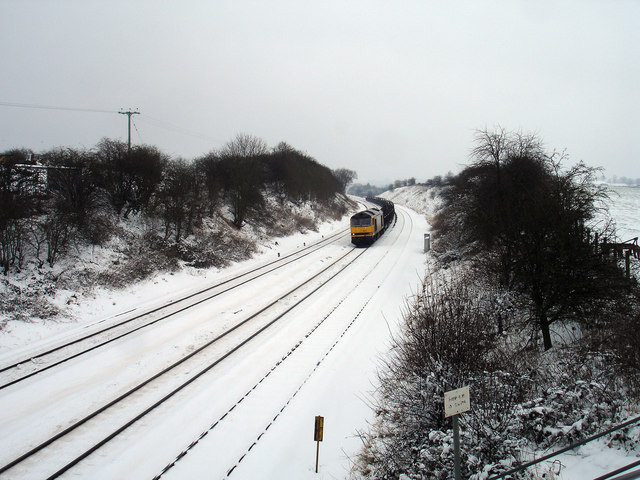 Southbound Freight Train in the Snow