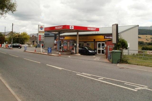 Regent filling station and Bronllys Supermarket