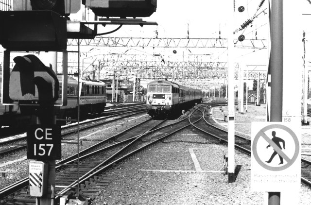 Electric Train Approaching Crewe, 1989