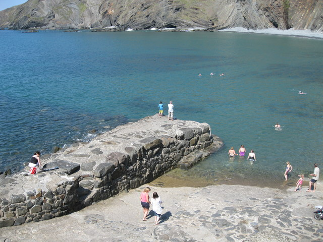 Swimmers at Hartland Quay