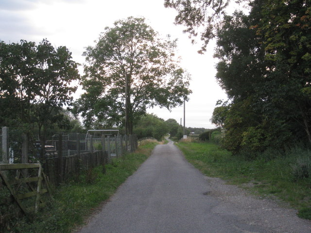 The lane to Westwood Farm and Hawthorn Hill