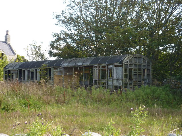 The derelict railway carriage at Cairnglass Farm