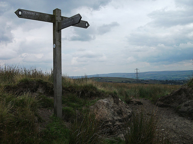 Finger post on Rooley Moor Road