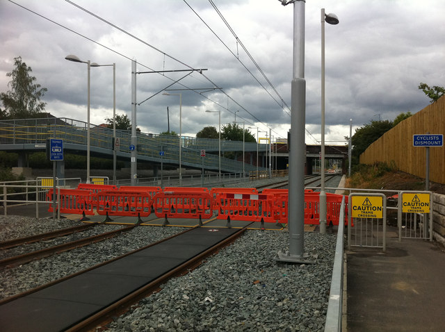 Cycle path level crossing west of St Werburgh's Road Metrolink stop