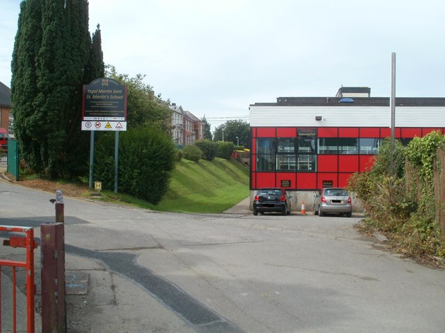 Entrance to St Martin's School, Caerphilly
