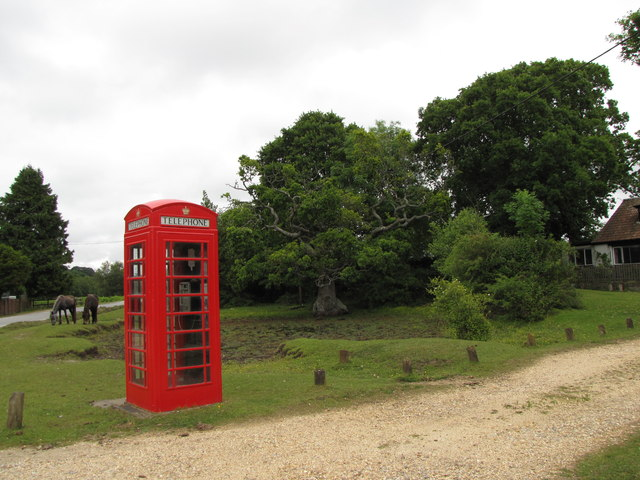 Red Phone box on the edge of South Weirs