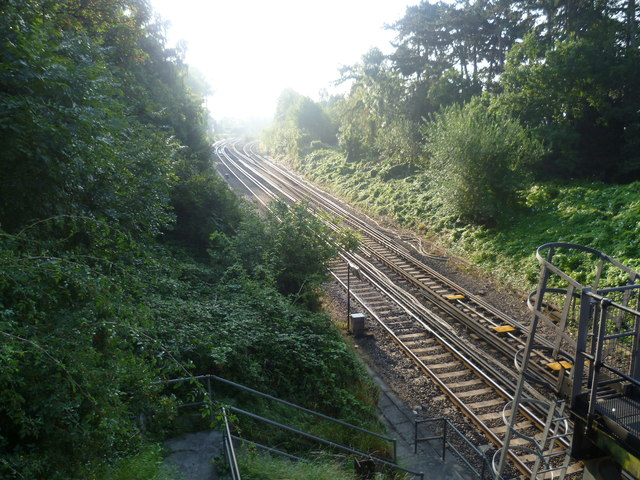 Railway lines seen from Downs Bridge Road