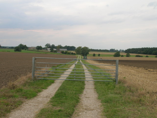 Gated farm track off the B1222