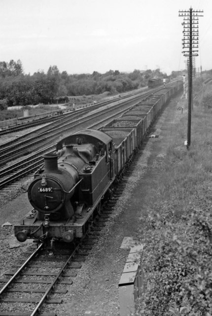 Ex-GWR South Wales main line at Magor, with Up coal train