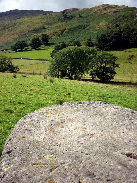 Cut bench mark on boulder, Thornhow, Grisedale