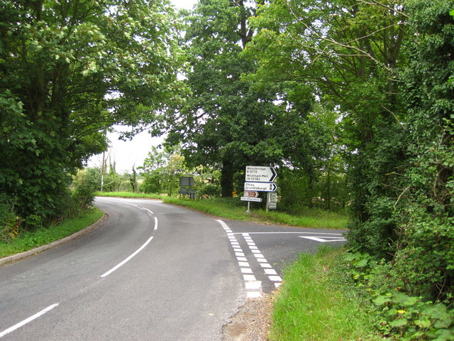 Road junction near Helmingham Church