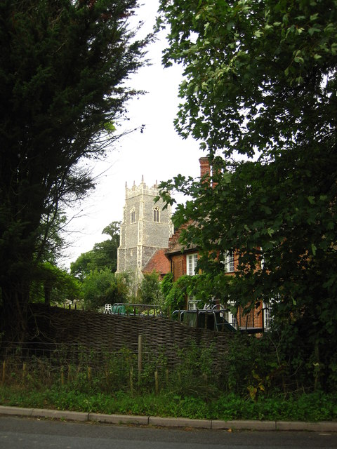 The old rectory and the tower of Helmingham Church