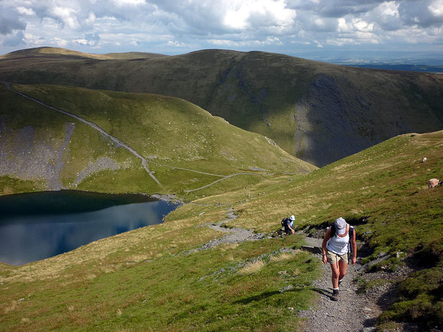 Climbing the track above Scales Tarn, Blencathra