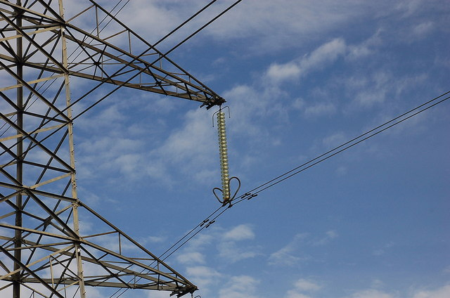 Detail of suspended conductors, high voltage power line
