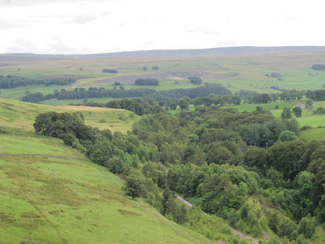 The valley of Stanhope Burn around the former Stanhopeburn Mine