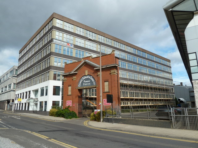 Pond Hill, offices and old Ponds Forge gateway