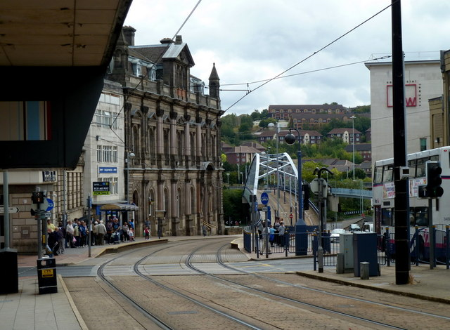 Tram line towards a bridge