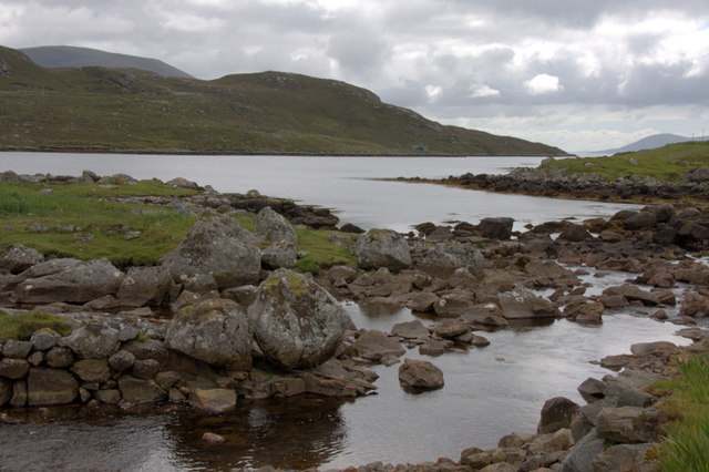 Abhainn Mhiabhaig as it enters Loch Mhiabhaig
