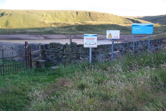 An array of signs at Deanhead Reservoir