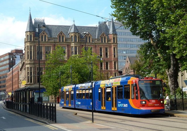Sheffield tram at the Cathedral stop