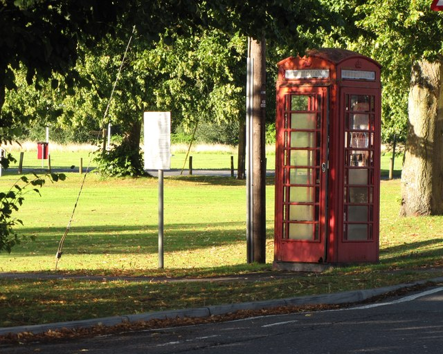 Phone box on Pirbright Green - outside the Cricketers