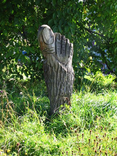 Foot sculpture at Woodbridge Meadows