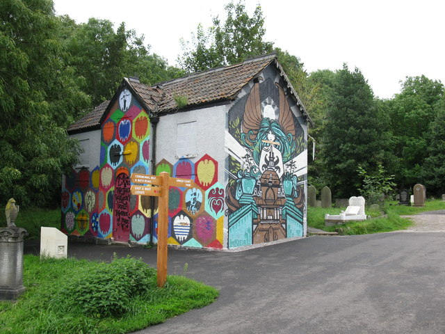 Painted building at Arnos Vale cemetery
