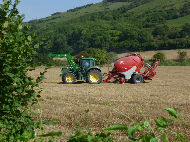Tractor at work in stubble field at Fulking (1)