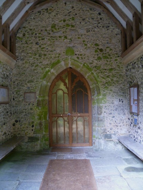 Inside the church porch at Edburton