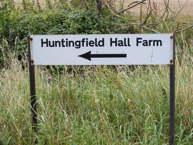 Huntingfield Hall Farm sign