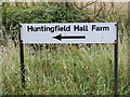 TM3475 : Huntingfield Hall Farm sign by Adrian Cable