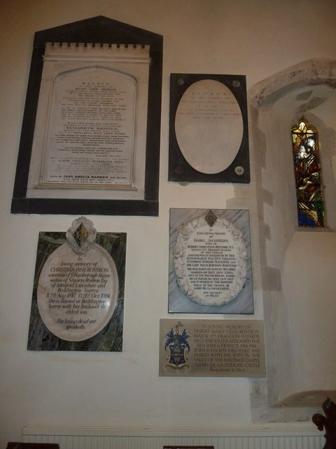 St Andrew, South Warnborough: internal memorials